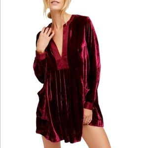 FREE PEOPLE VELVET MINI DRESS - worn once -